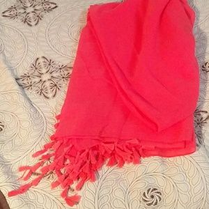 Bright coral. Cover up wrap, fun tassels